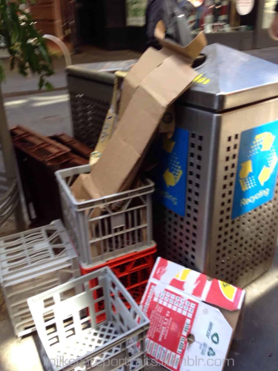 Blurry rubbish crates