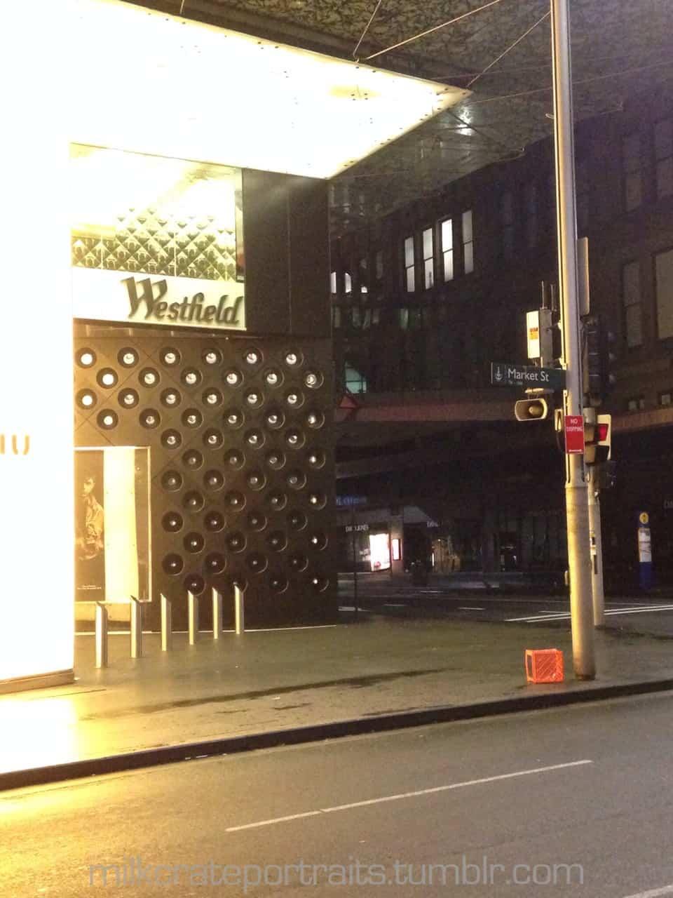 Lonely milk crate in Sydney CBD.