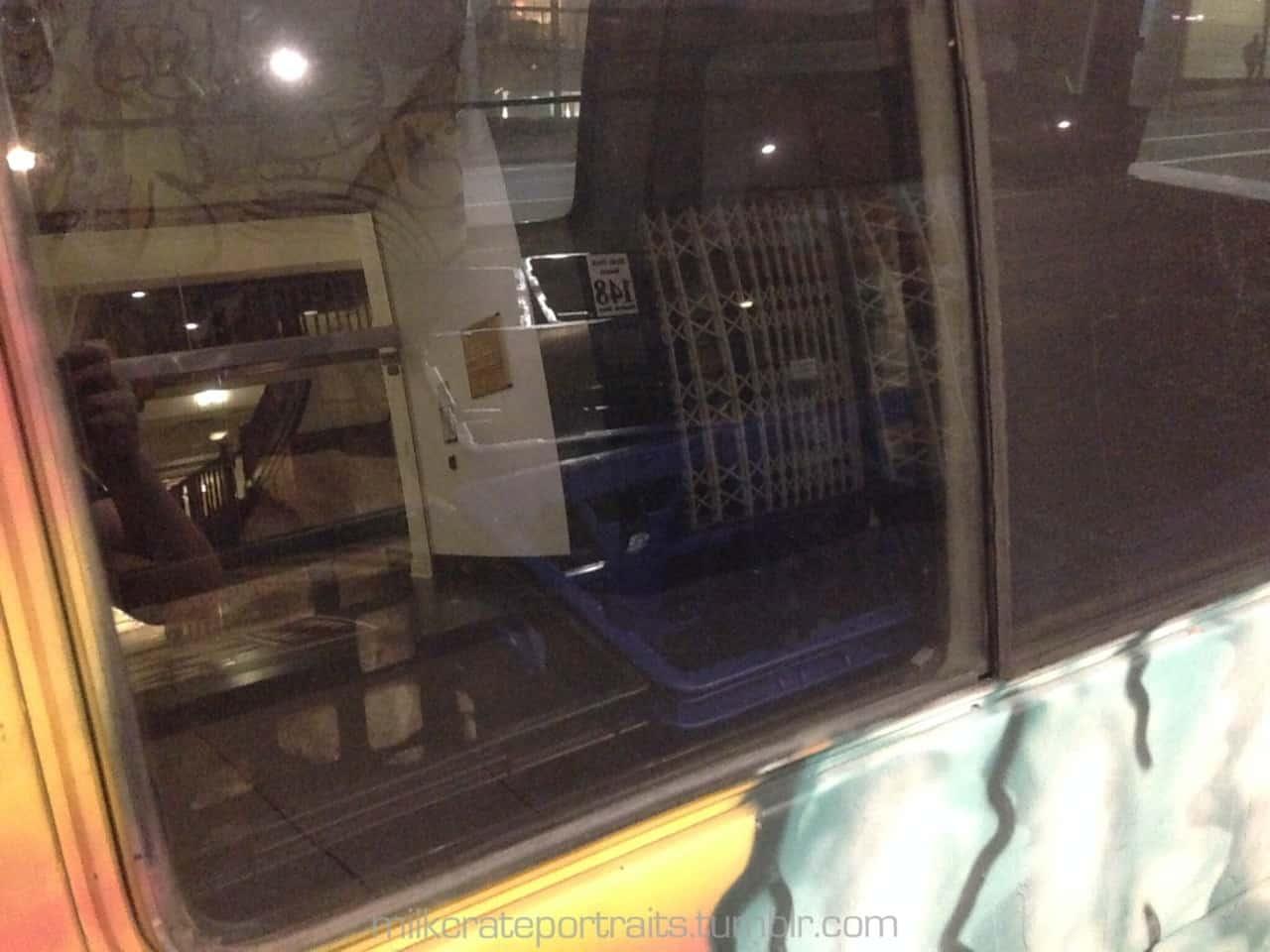 Milk crates inside a van