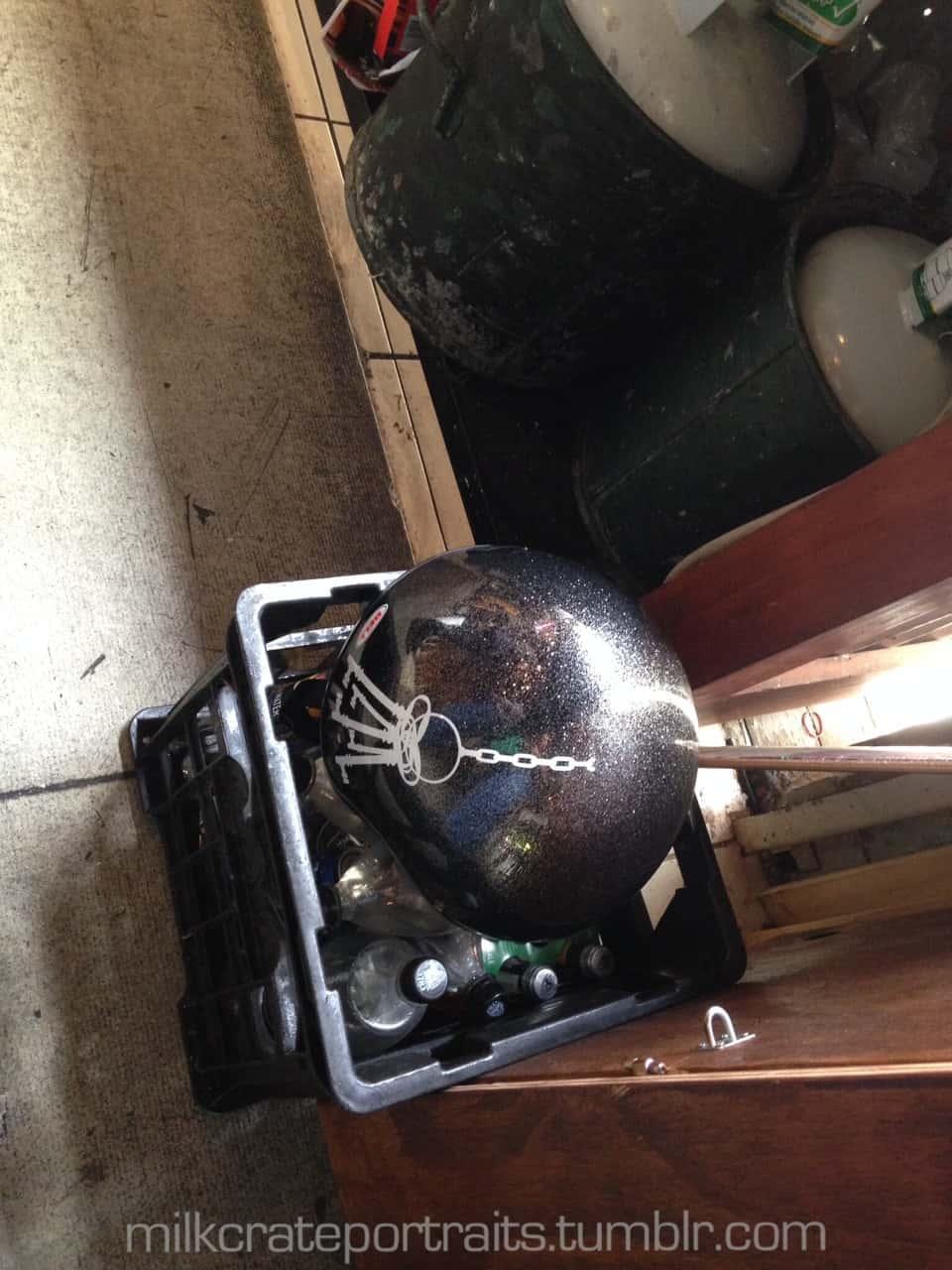 Motorbike helmet milk crate