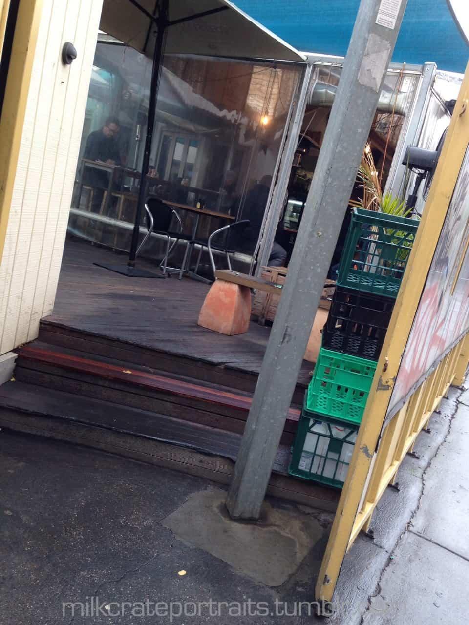 Coffee shop milk crates