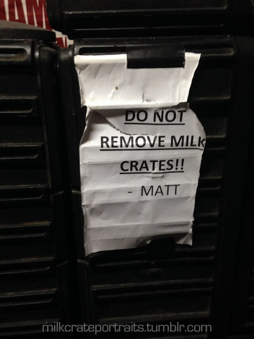 Not a milk crate, but a very important message!