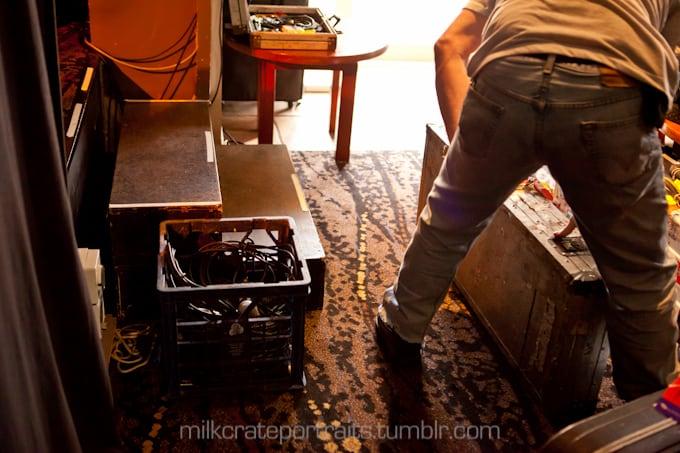 Leads in a milk crate