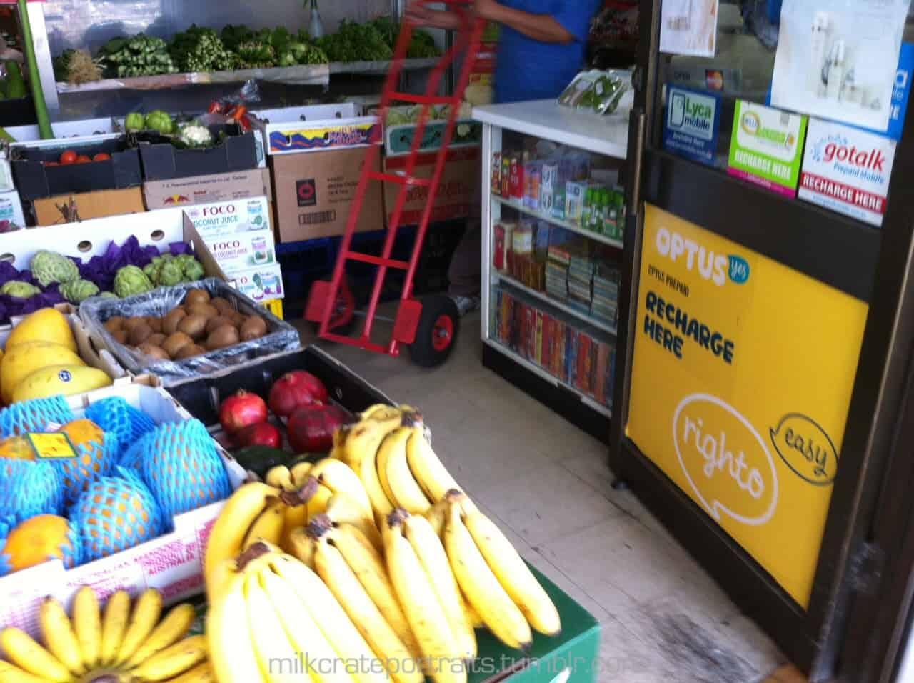 Fruit shop milk crates