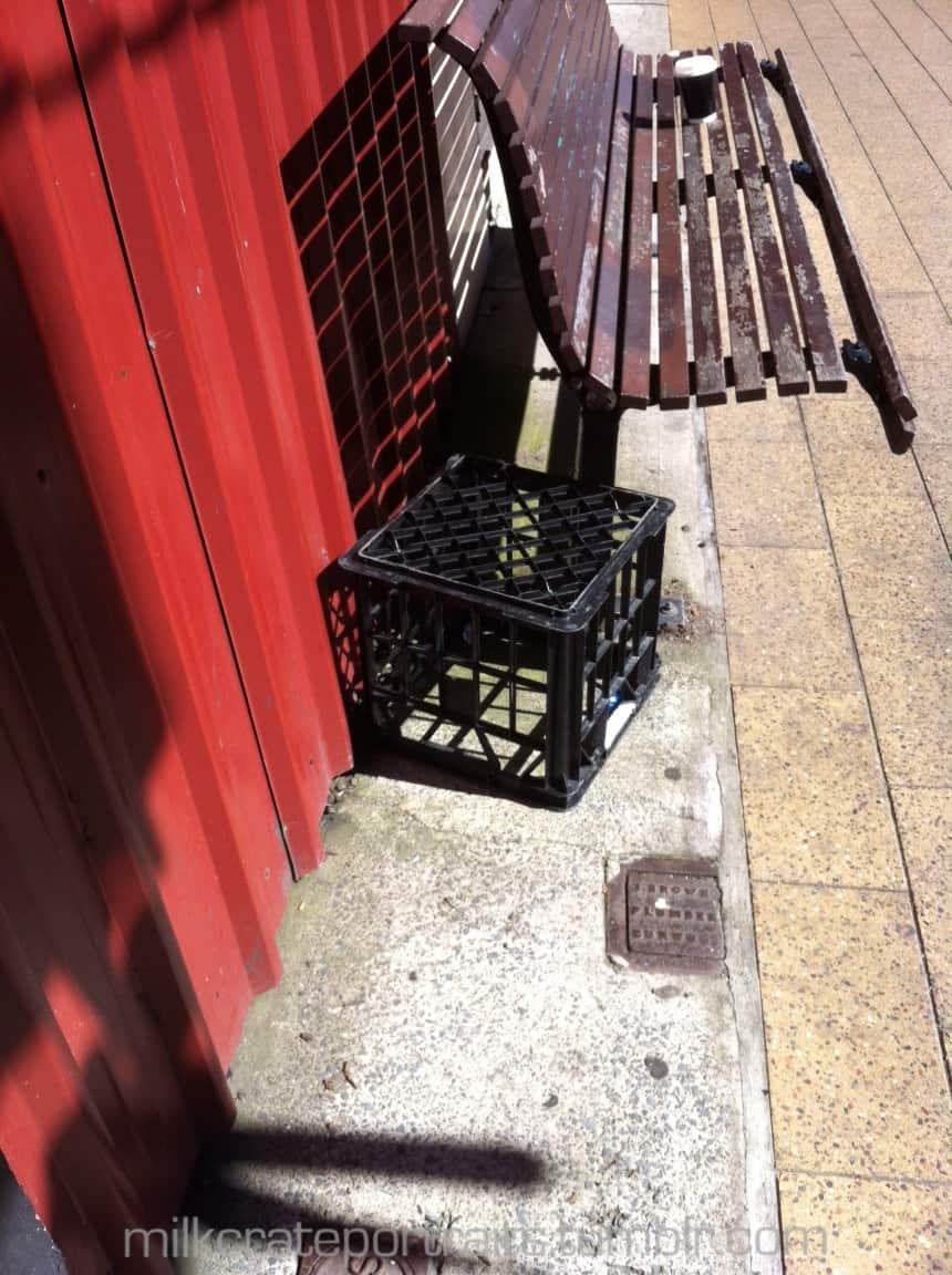Bus stop milk crate