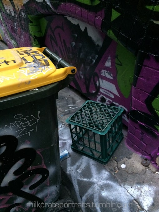 Milk crate in the laneway