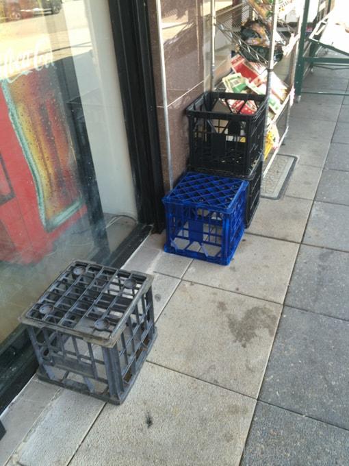 Outside the bakery