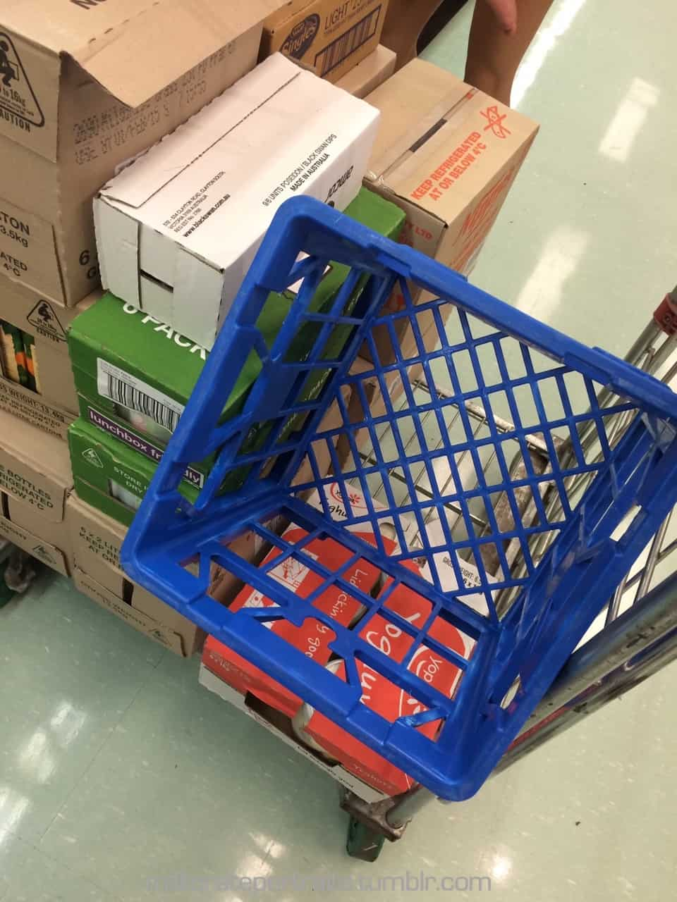 Milk crate in the supermarket