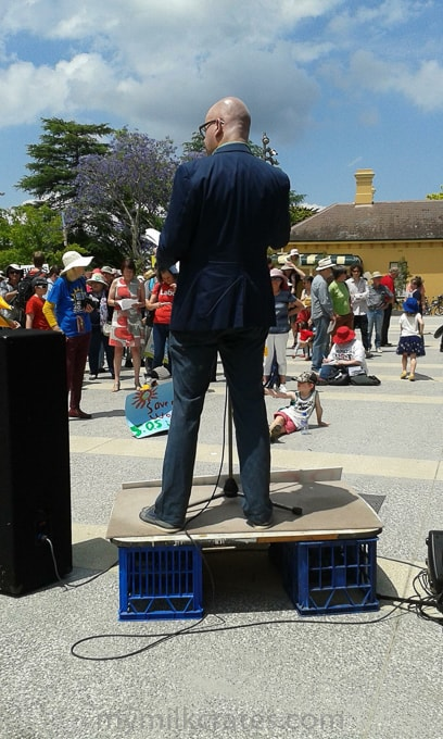 Katoomba mayor on his milk crate soapbox [Submitted by Miriam]