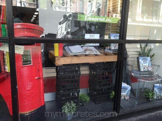 Bookshop crate shelf