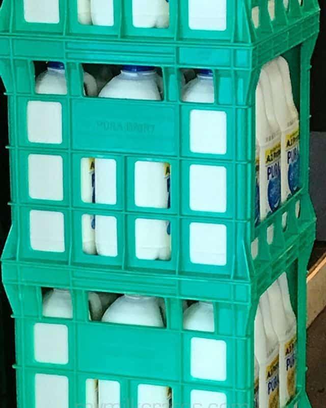 Crates with milk in them!