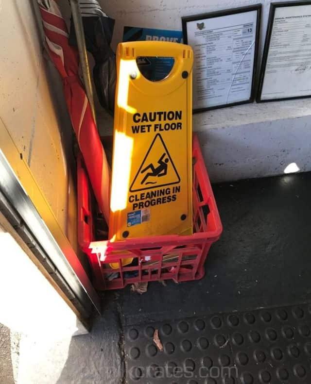 ⠀ Wet floor crate⠀ -----------⠀ #milkcrates #crateoftheday #picoftheday #streetphotography #streetscape #urbanscape #PhotoOfTheDay #urbanlife #crates #instagram #caution #wetfloor⠀ ⠀ See more at https://mymilkcrates.com/⠀