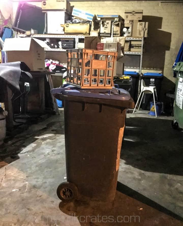 Crate on a bin