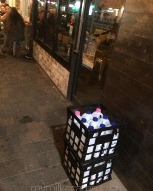 Night crates with milk in them!