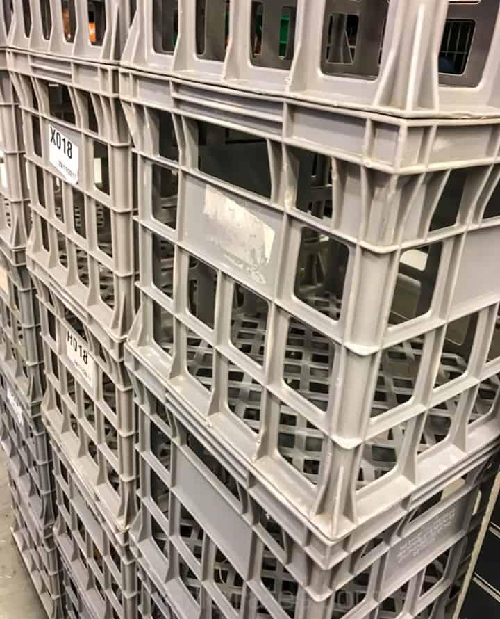 Grey crates